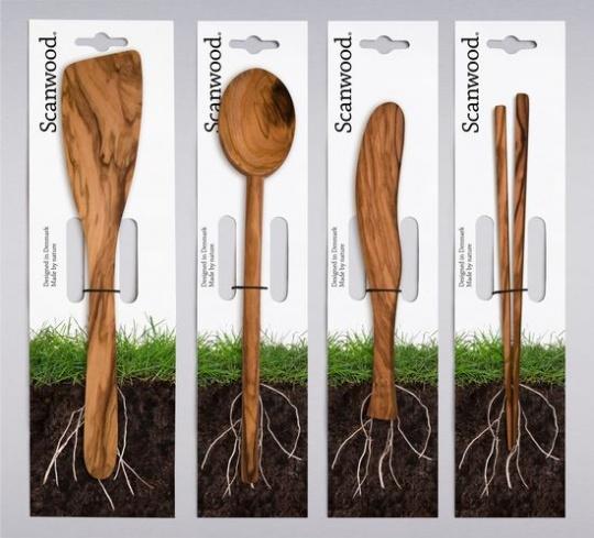 Clever Packaging Design of Wooden Kitchen Utensils