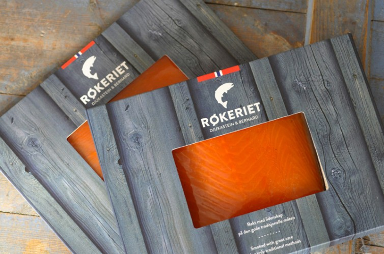 Røkeriet packaging design for smoked fish.