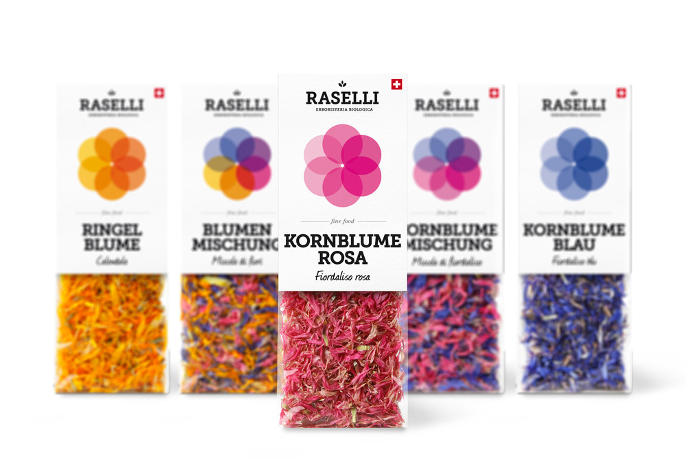 Creative Packaging of Raselli organic herbs & blossoms