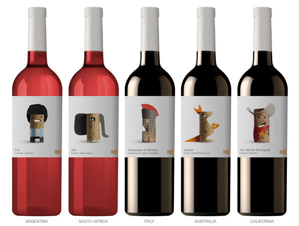 Playful wine packaging label design for wines of the world.