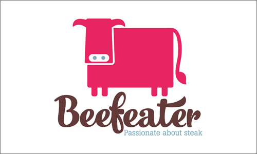 New branding for Beefeater with pink cow and strap line 'passionate about steak'