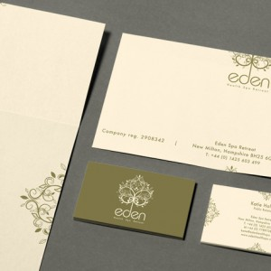Graphic designers created corporate identity design for Eden Heath Spa.