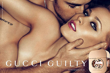 Gucci advert showing a man and woman embracing