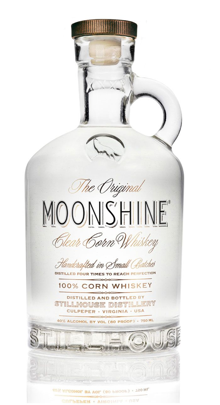 Whiskey Packaging Design for Moonshine Clear Corn Whiskey.