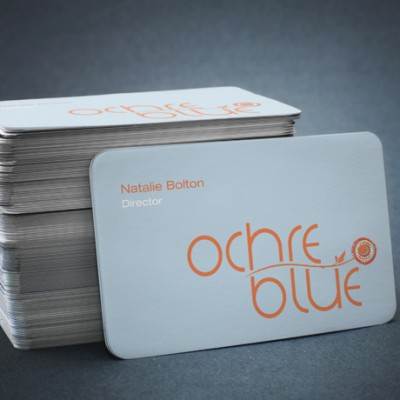 Corporate identity and Bespoke business card design for Ochre Blue