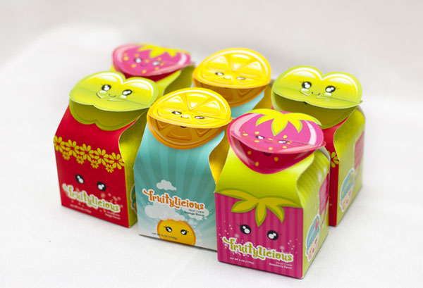 Clever Packaging design of Fruitylicious products with fruit shaped closure