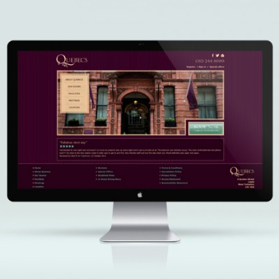 E-commerce website, designed by Brighton web design company, Flipflop Design for Quebecs hotel in Leeds.