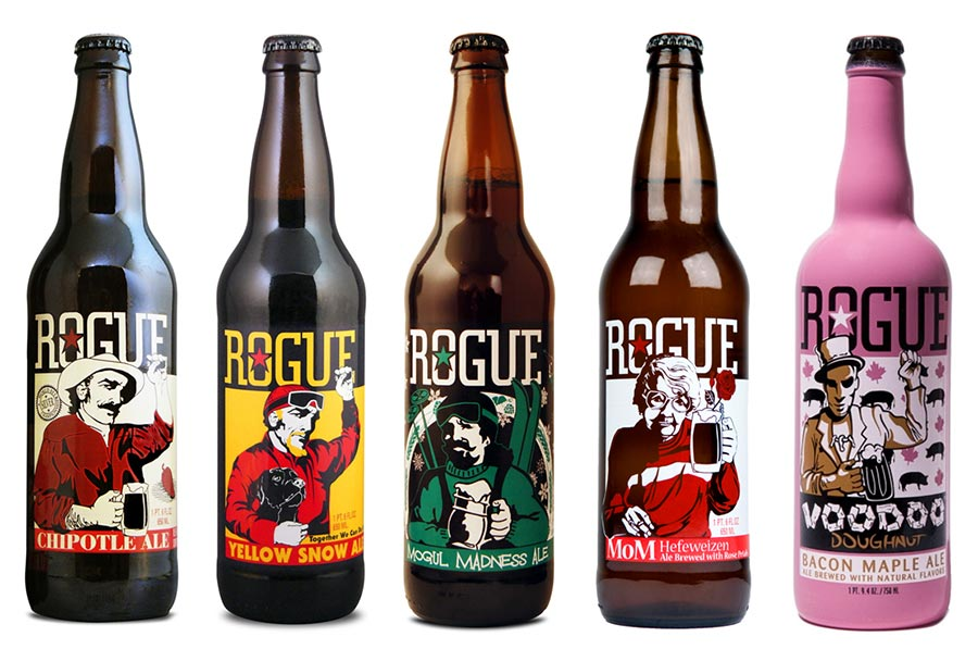 Rogue Craft Beer Illustrated Label Packaging Designs