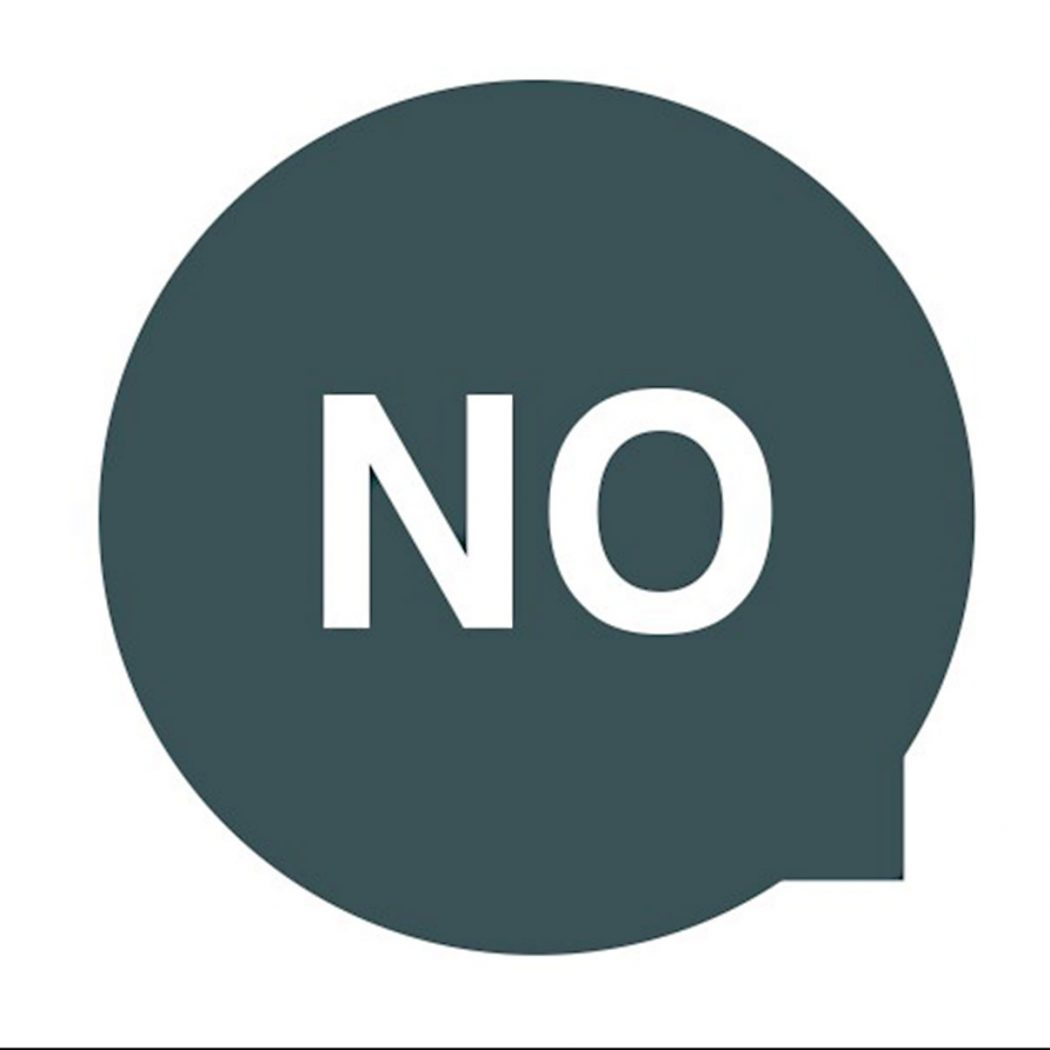 Image show bold text in a speech bubble saying 'NO' to support our blog on why free pitching is bad for clients and designers.
