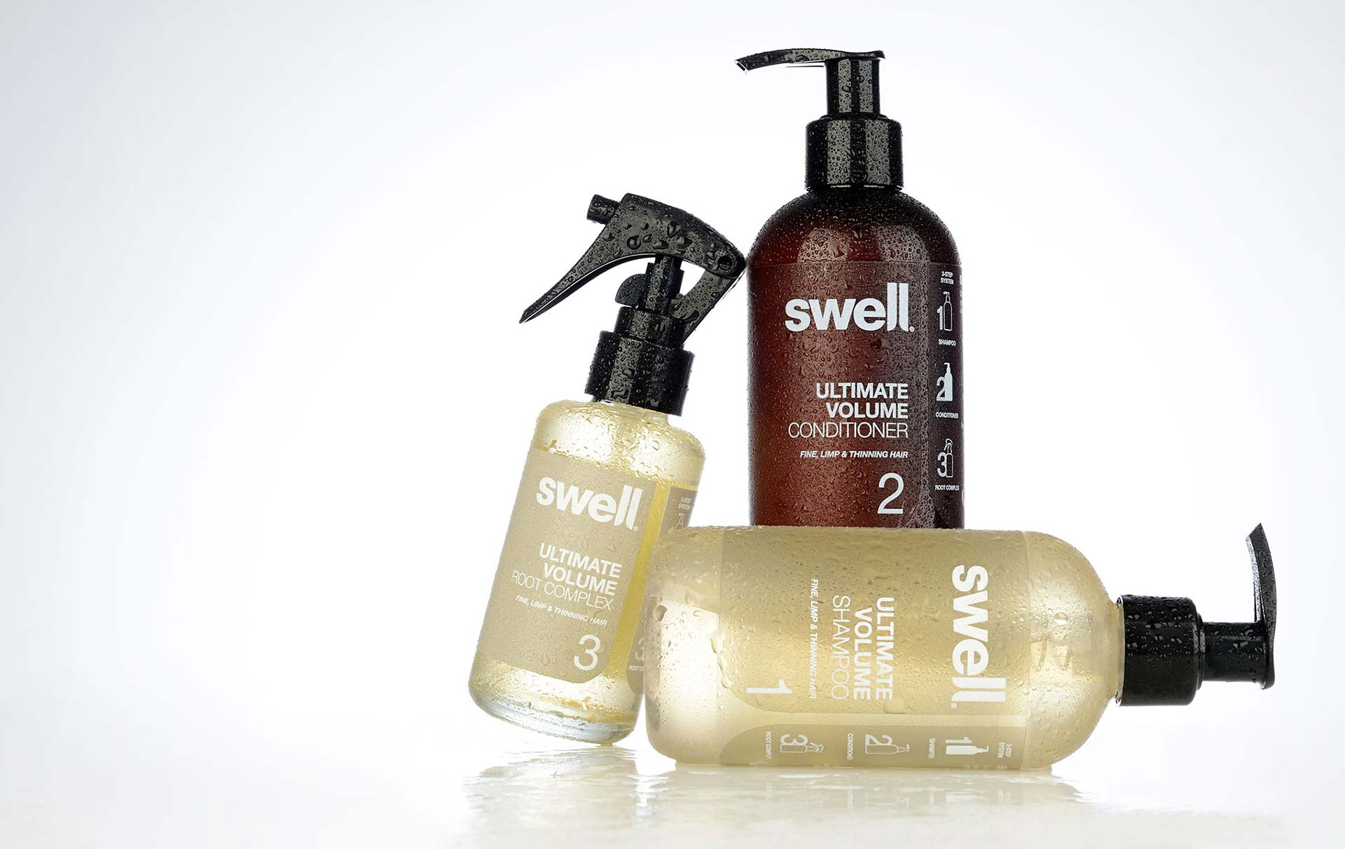 Swell Hair care packaging design. Shampoo, conditioner and root complex. Packaging design company - Flipflop Design.