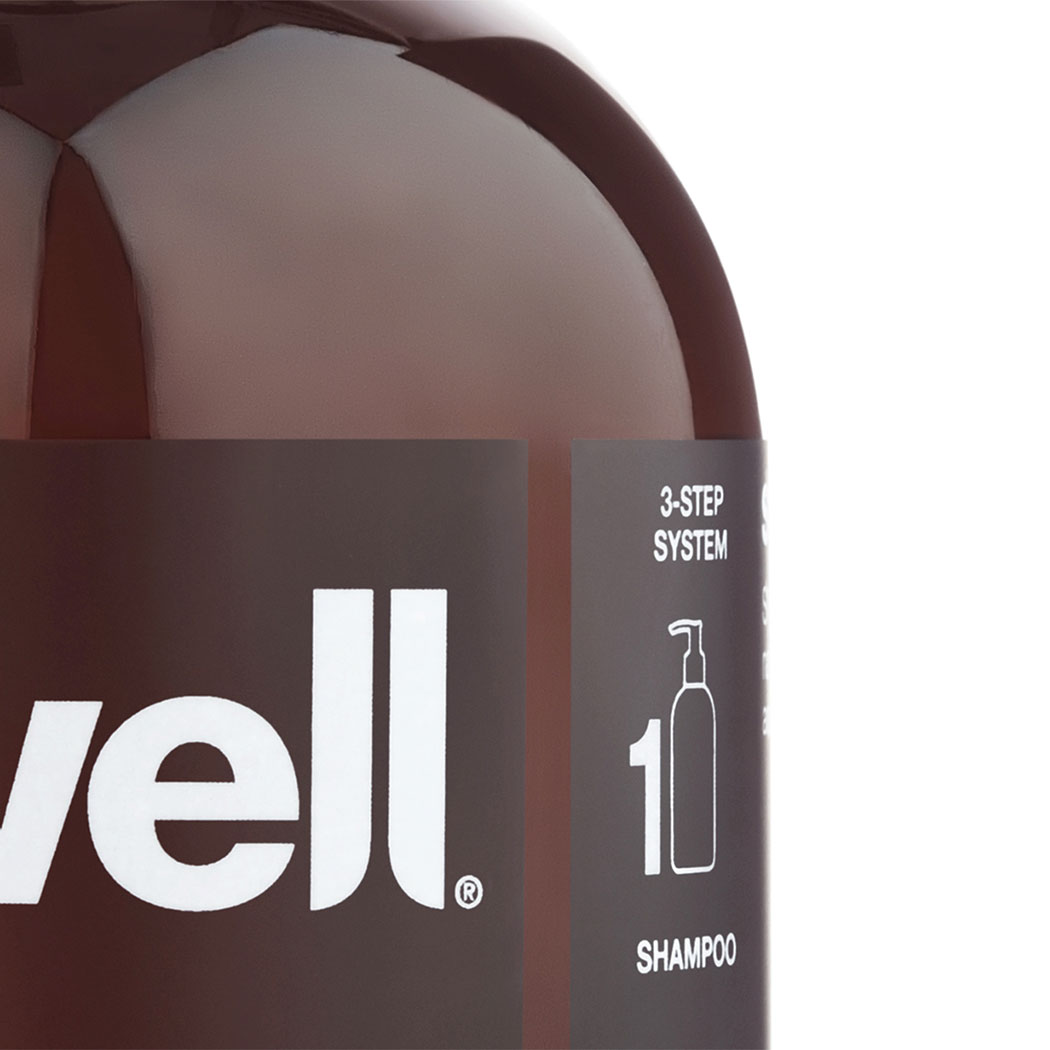 Hair care packaging design for Swell Hair. Cropped Image shot of Swell Conditioner. Packaging design by Flipflop Design Ltd.