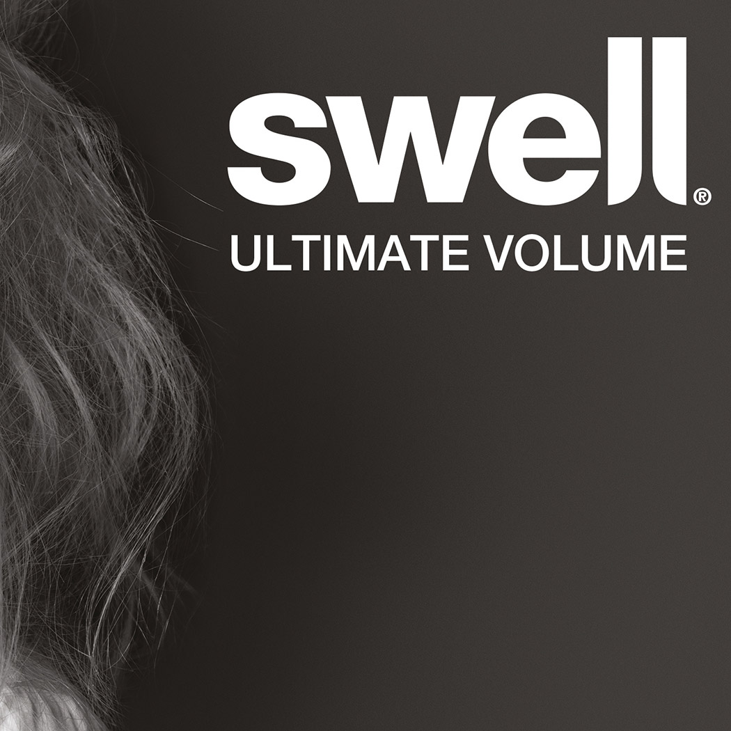 Swell Hair Brand Logo, White on a dark background