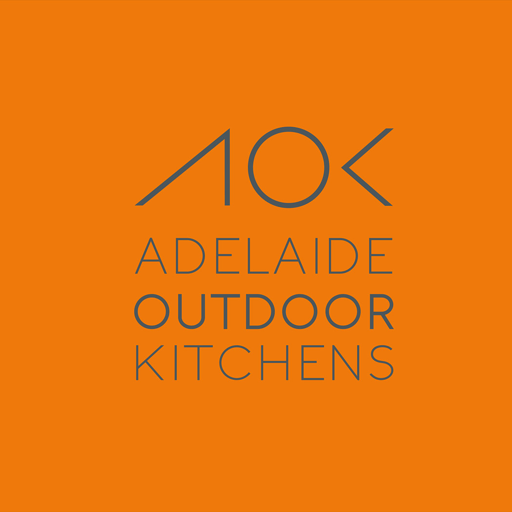Identity Design for Australian outdoor kitchen company. Image shows brand logo in grey on orange background. Identity design created by Flipflop Design Ltd.