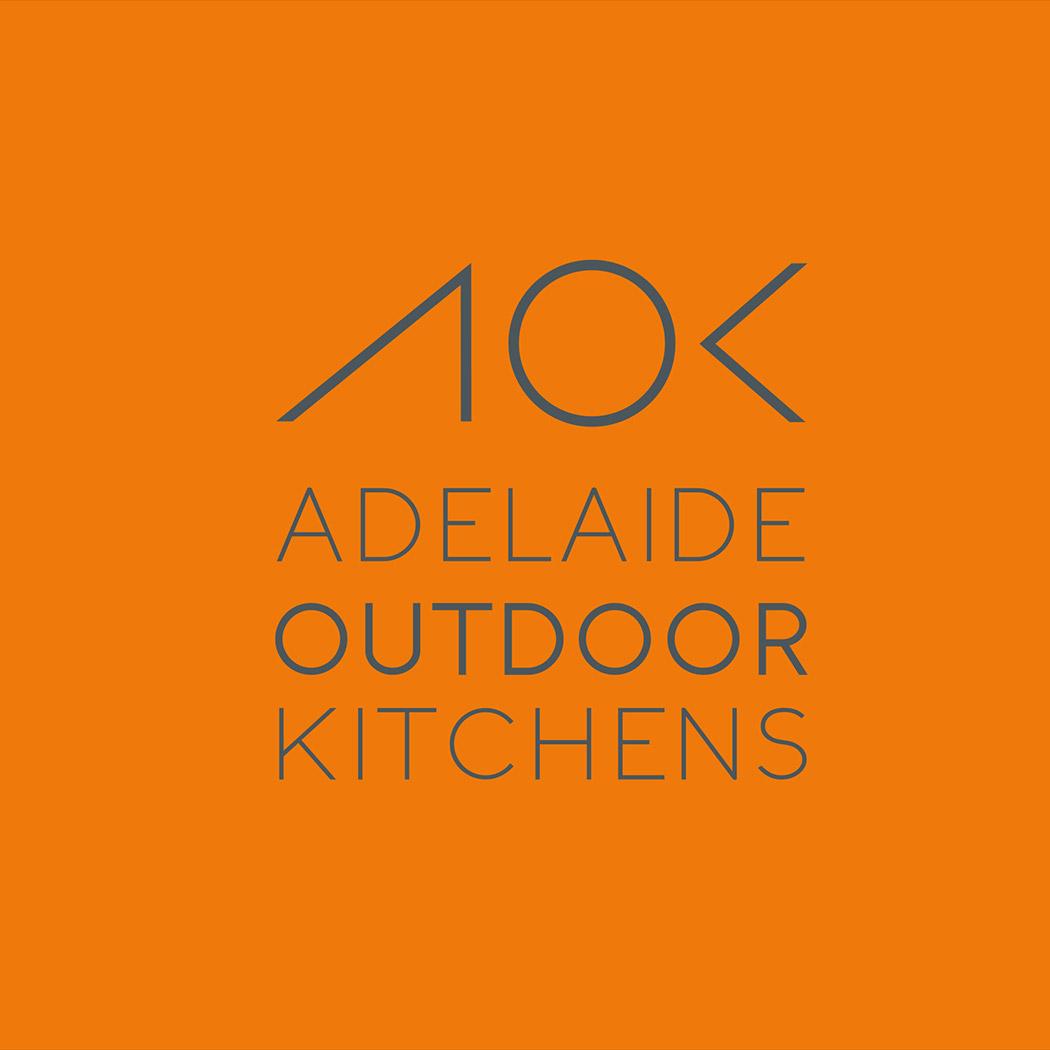 Identity Design for Australian outdoor kitchen company. Image shows brand logo in grey on orange background. Identity design created by Flipflop Design Ltd.