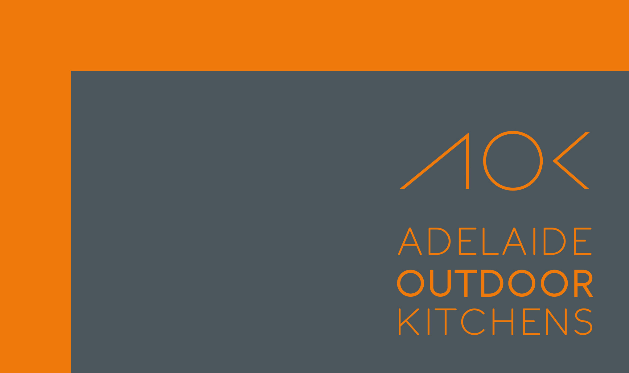 Identity Design for Australian outdoor kitchen company. Image shows brand logo in orange on grey. Identity design created by Flipflop Design Ltd.