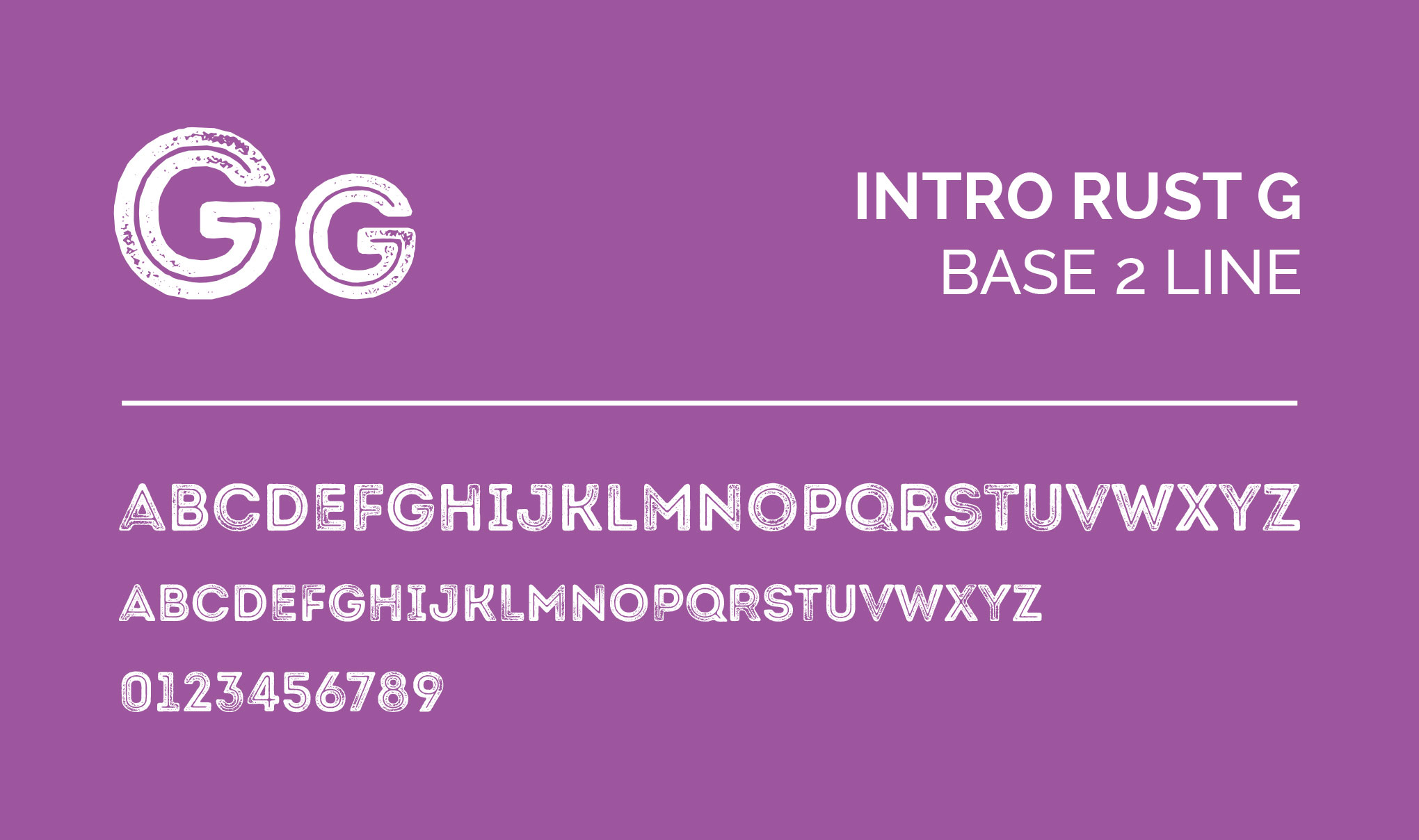 INTRO RUST G - Base 2 Line. Font layout.
