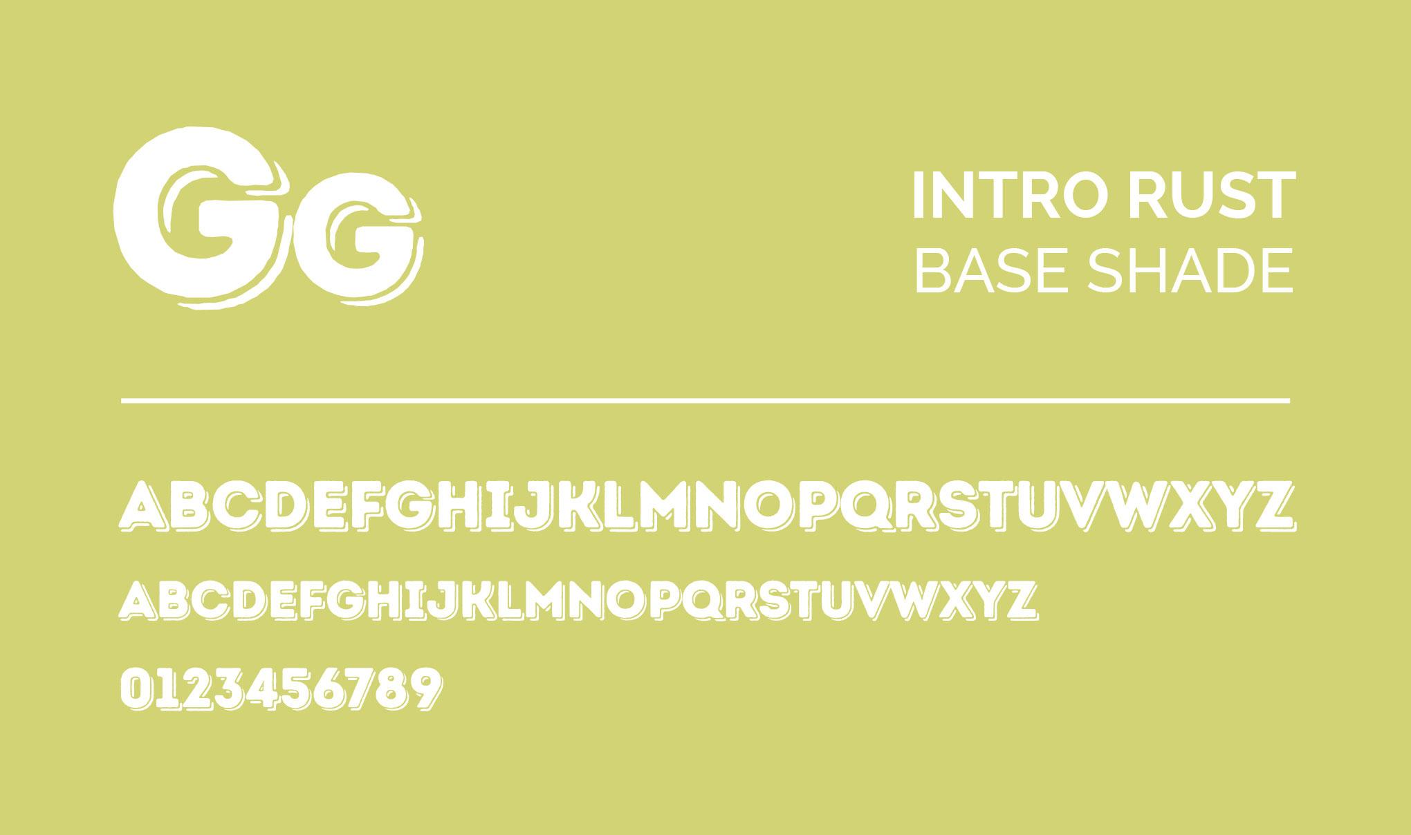 INTRO RUST - Base Shade. Font layout.