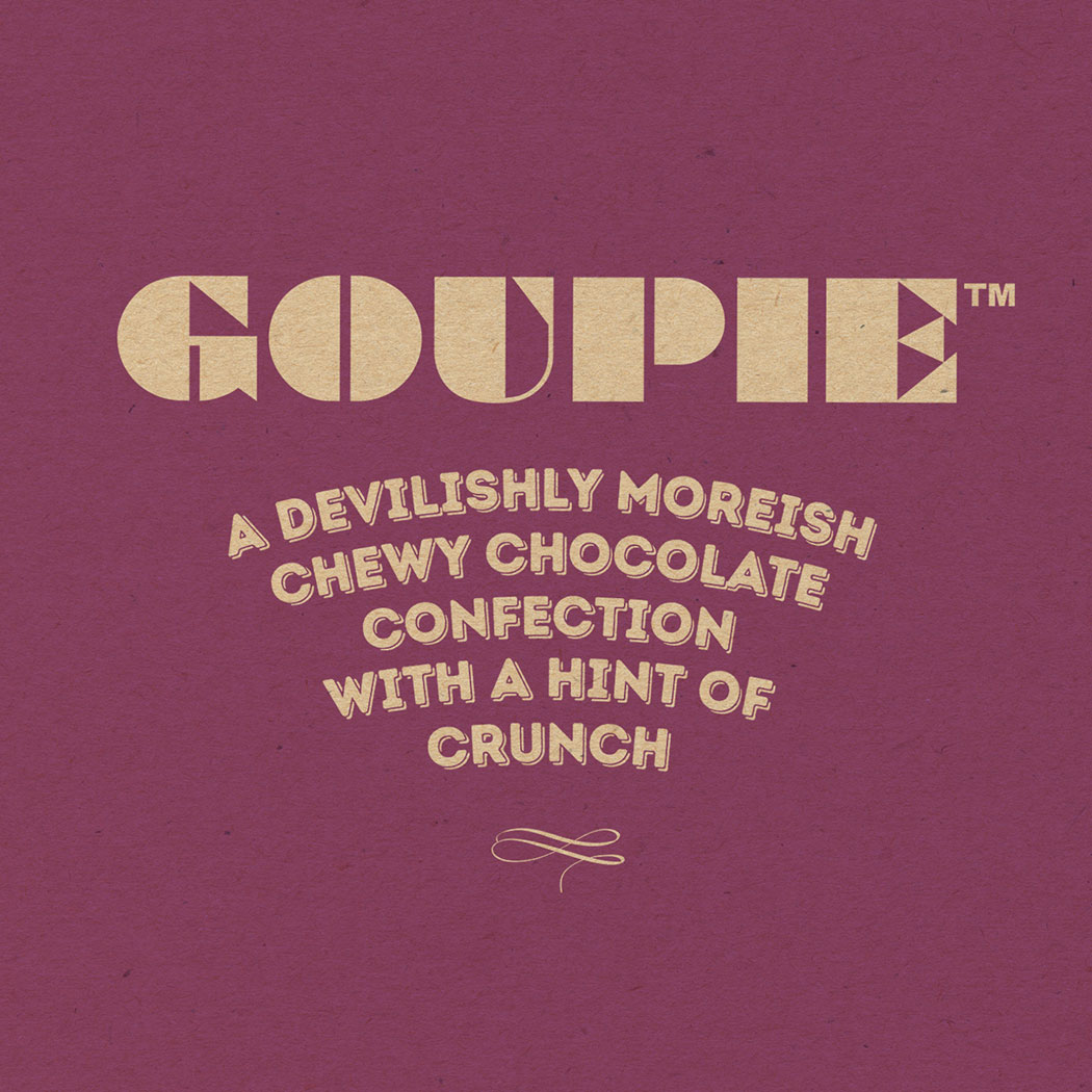 Updated Branding for Goupie Chocolate packaging. Creative food packaging design agency - Flipflop Design.