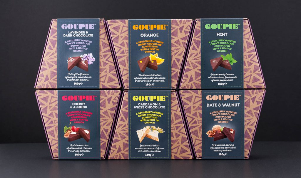 Chocolate package design. New branding and packaging for Goupie confectionery. Creative food packaging design agency - Flipflop Design.