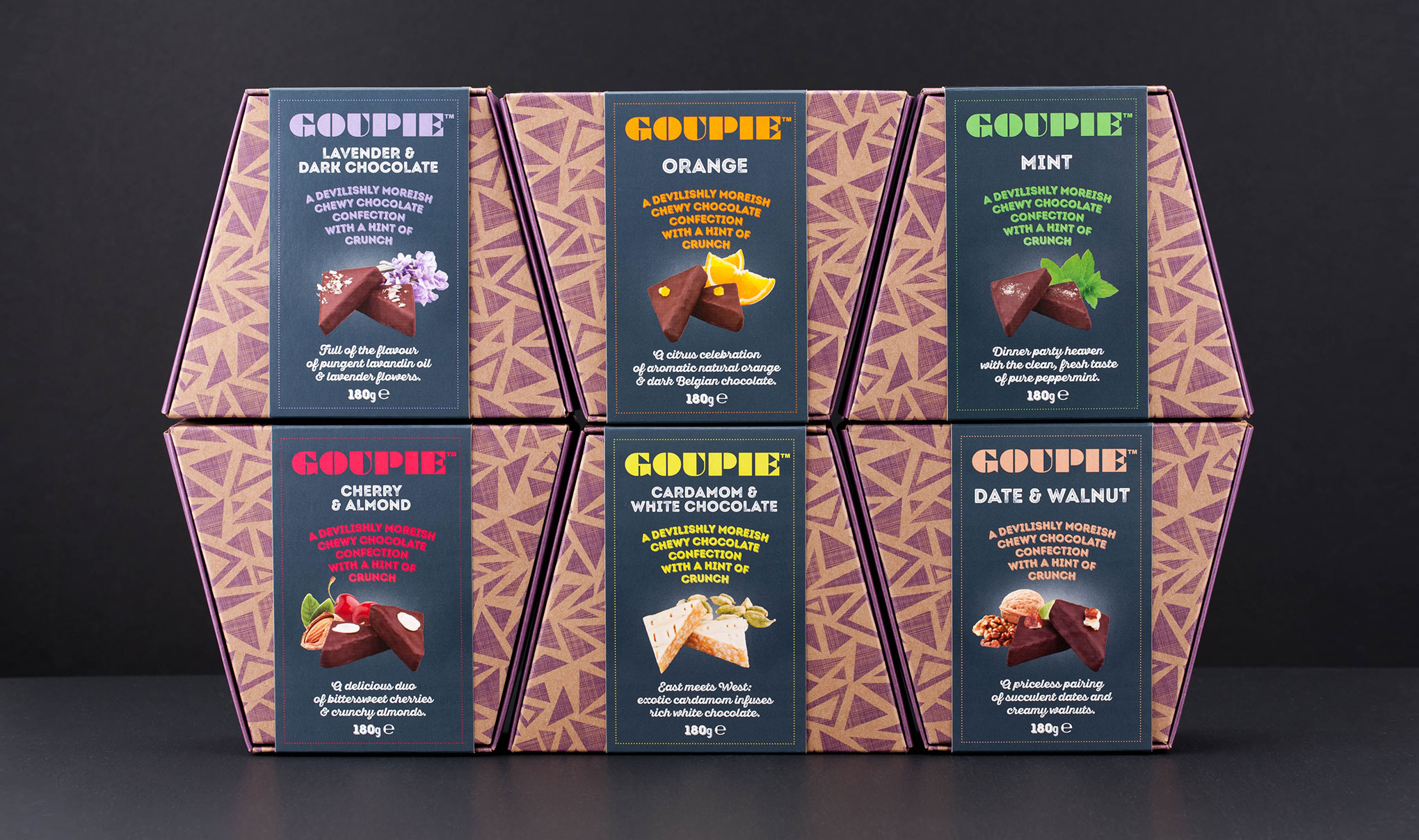 Chocolate packaging design. Image shot of the new branding and packaging for Goupie confectionery. Designed by packaging design agency - Flipflop Design Ltd.