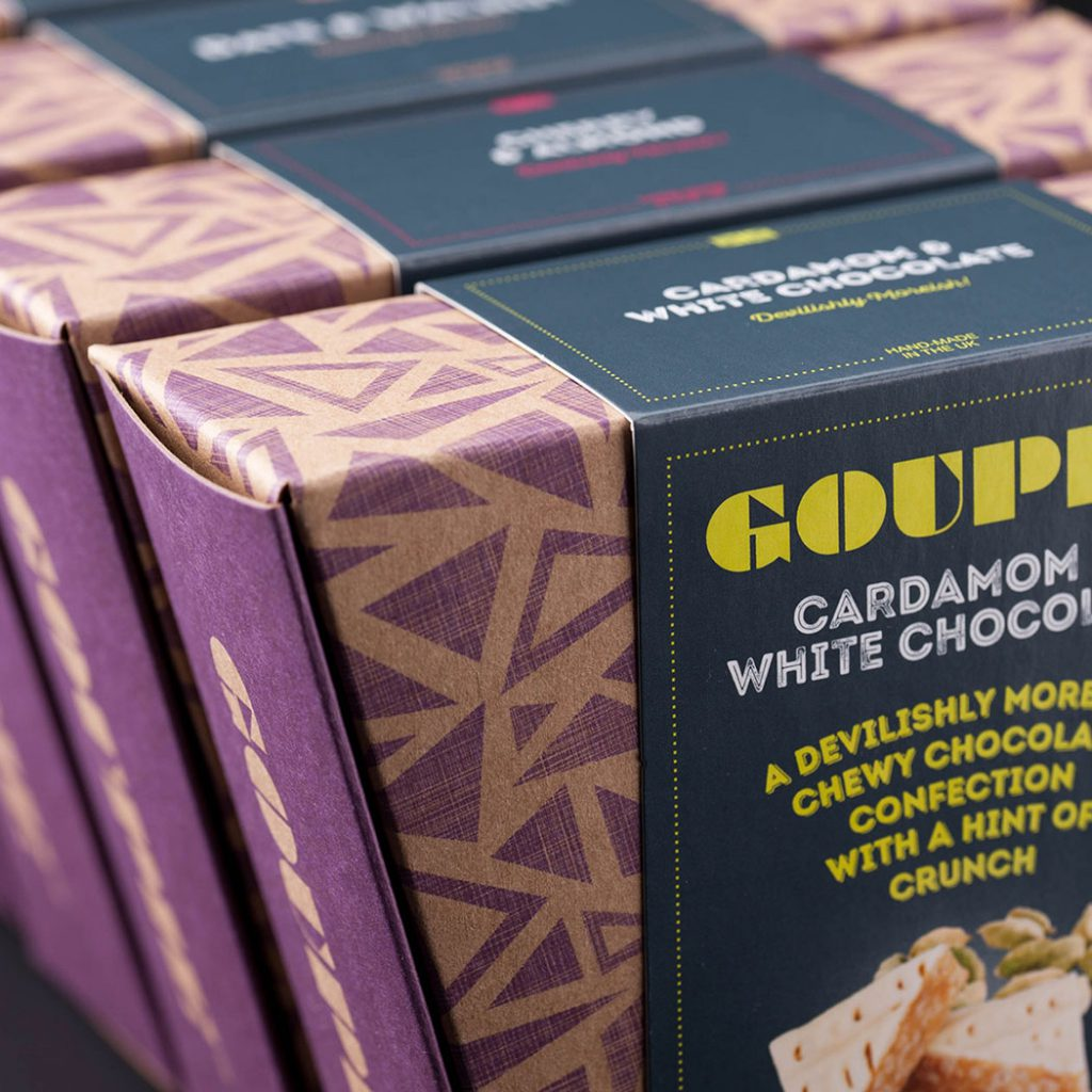 Chocolate packaging - Goupie Chocolates. Creative food packaging design agency - Flipflop Design.