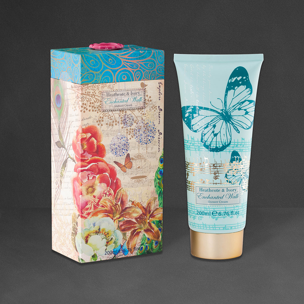 Packaging Design for Heathcote & Ivory Xmas gifts. Image shows fully illustrated rigid carton with tube of shower cream to the left