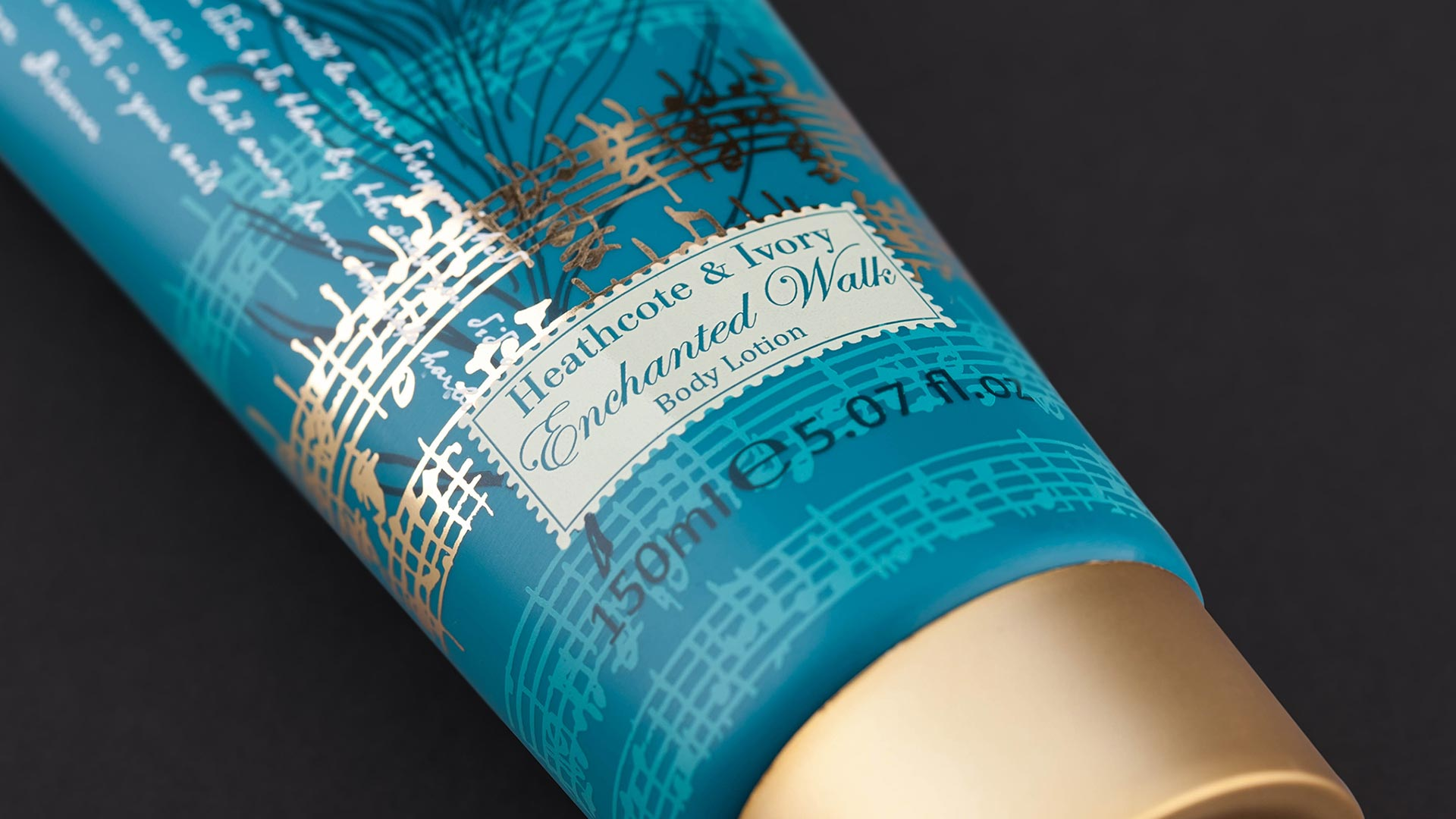 Body lotion package design for Heathcote & Ivory.