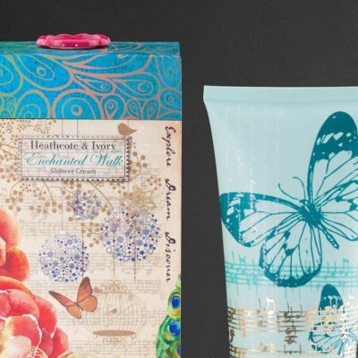 Packaging Design for Heathcote & Ivory's Xmas Gift range. Close up crop shot of a shower cream tube and carton design.