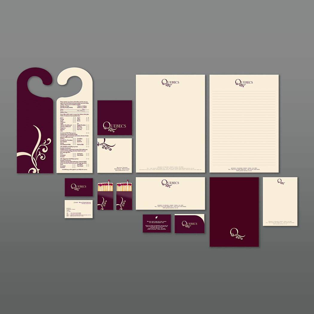 Brand identity for Quebecs Hotel. Image shows a selection of stationery and marketing materials. Created by brand design agency Flipflop Design