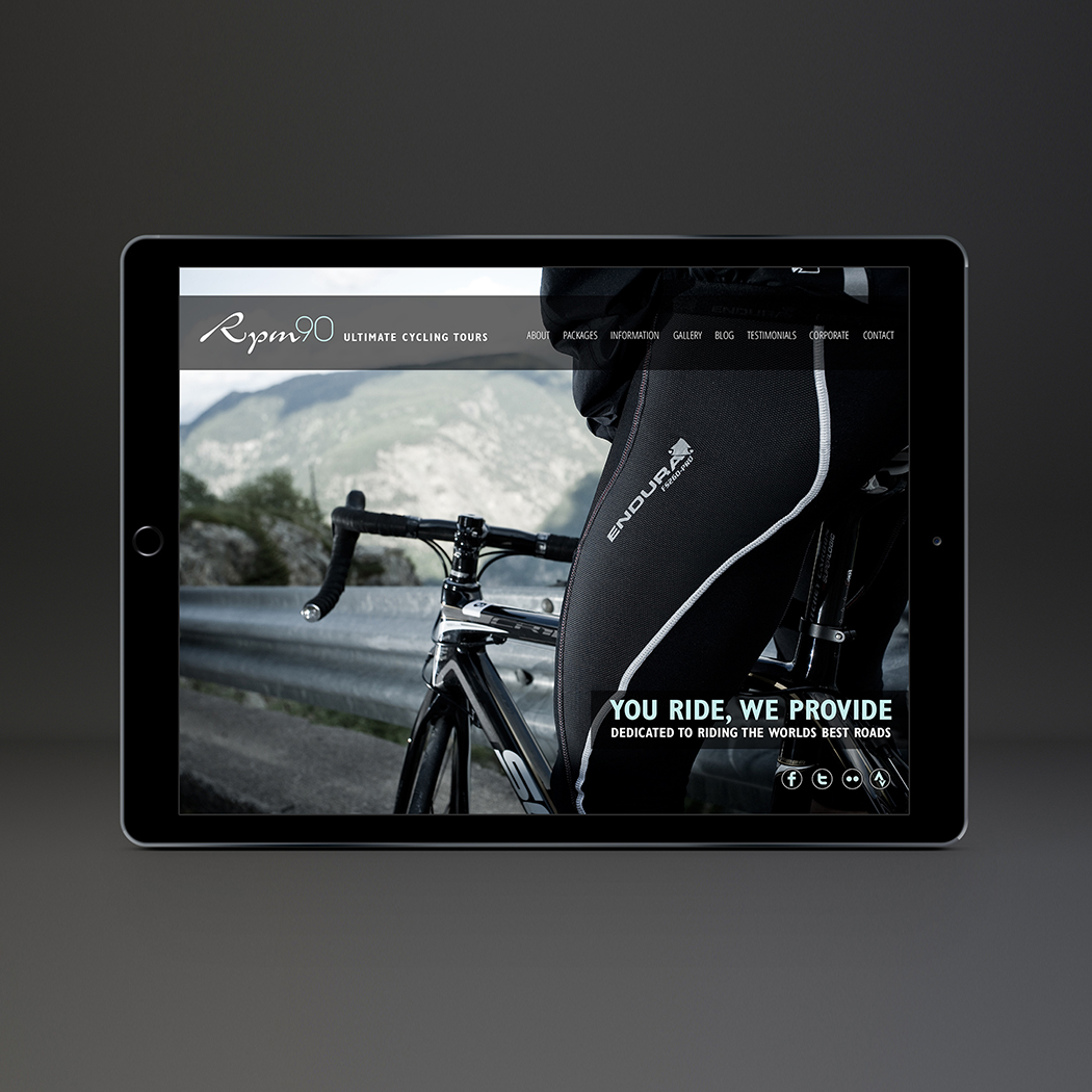 Website Design for RPM90 cycling holidays - Home page.