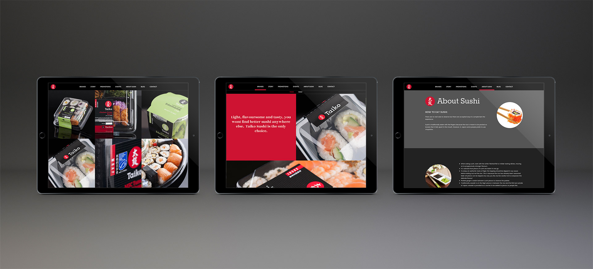 Taiko Foods Web Design, Three Example pages - Web Design Agency Brighton - Flipflop Design, Brighton