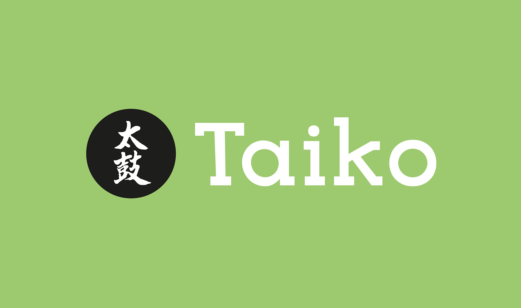 Taiko Sushi brand logo - Horizontal version on green.