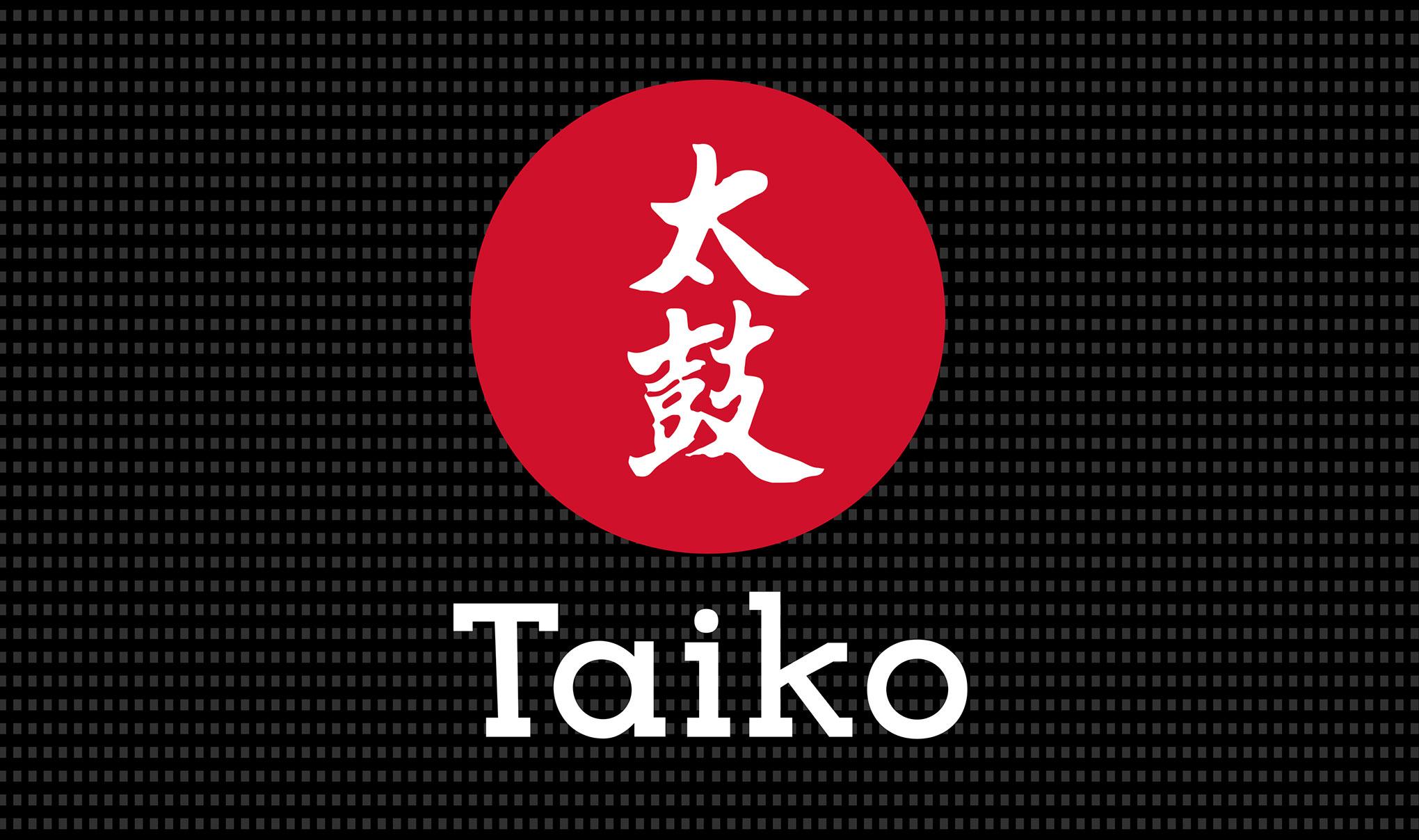Taiko Sushi primary brand logo design.