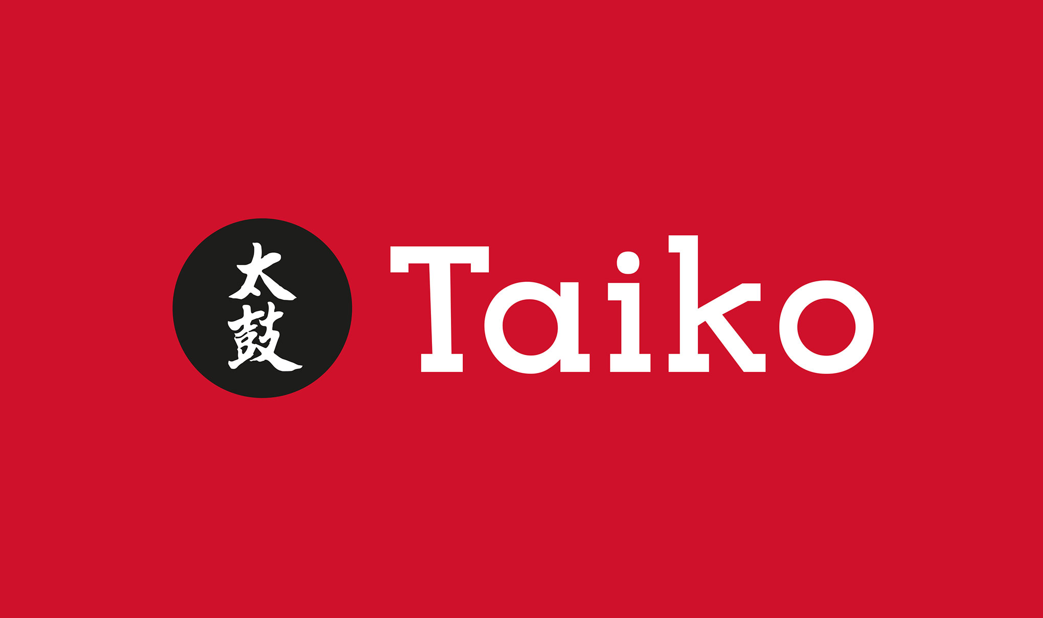 Taiko sushi brand logo - small version on red background