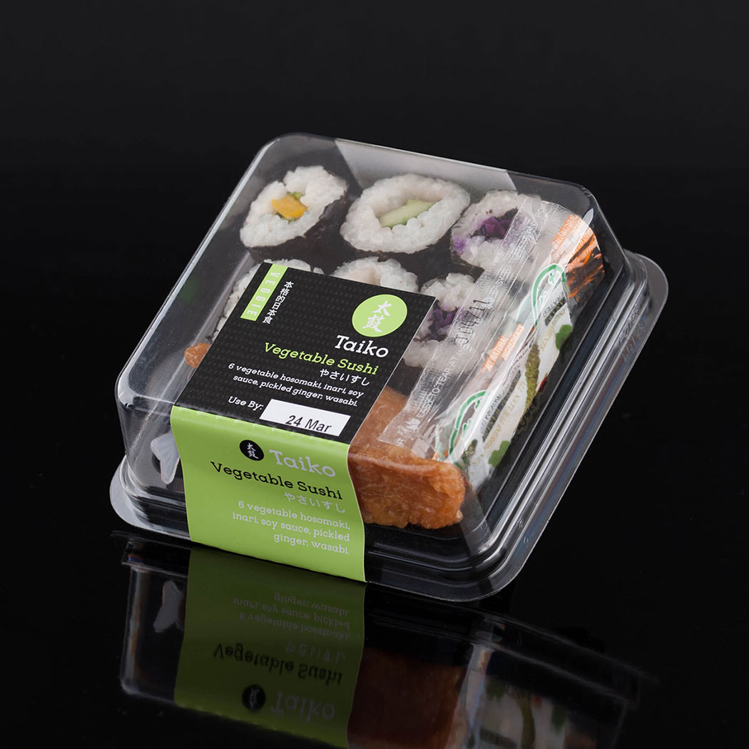Packaging design of the vegetarian option for Taiko sushi packaging.