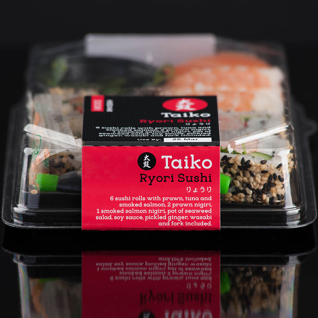Sushi Packaging design. Close up image of a Ryorui Sushi pack, showing Taiko's new branding. Designed for Waitrose by packaging and brand design agency, Flipflop Design.