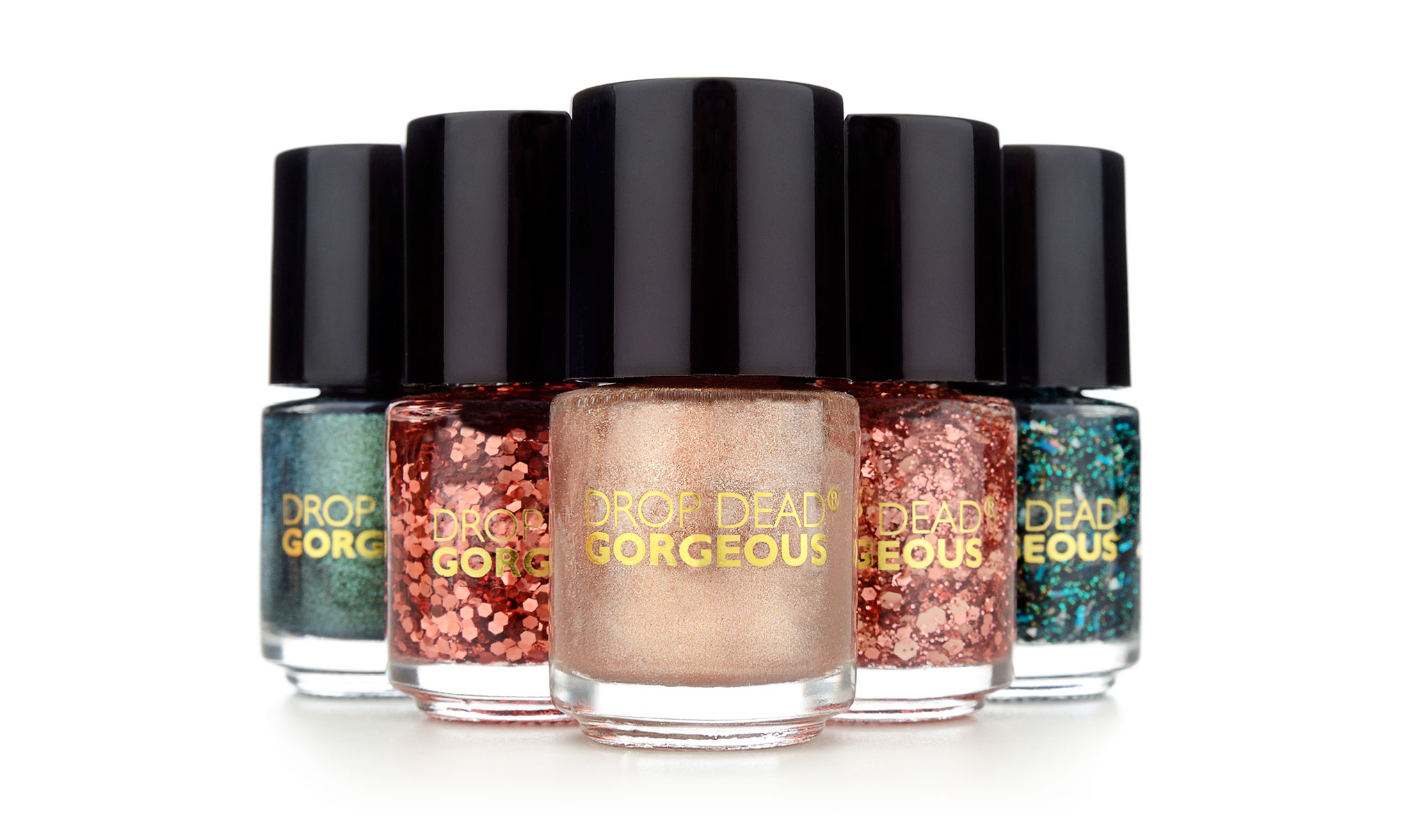 Image shows x6 'Drop Dean Gorgeous' nail polishes for Tesco. Created by packaging design agency - Flipflop Design Ltd.