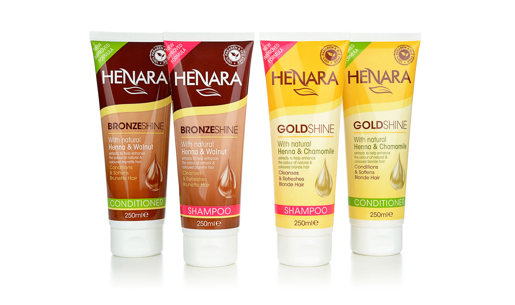 Haircare packaging design for the brand 'Henara'. Image shows shampoo and conditioner for blondes and brunette hair. Designed for Amber House by packaging design agency - Flipflop Design Ltd.