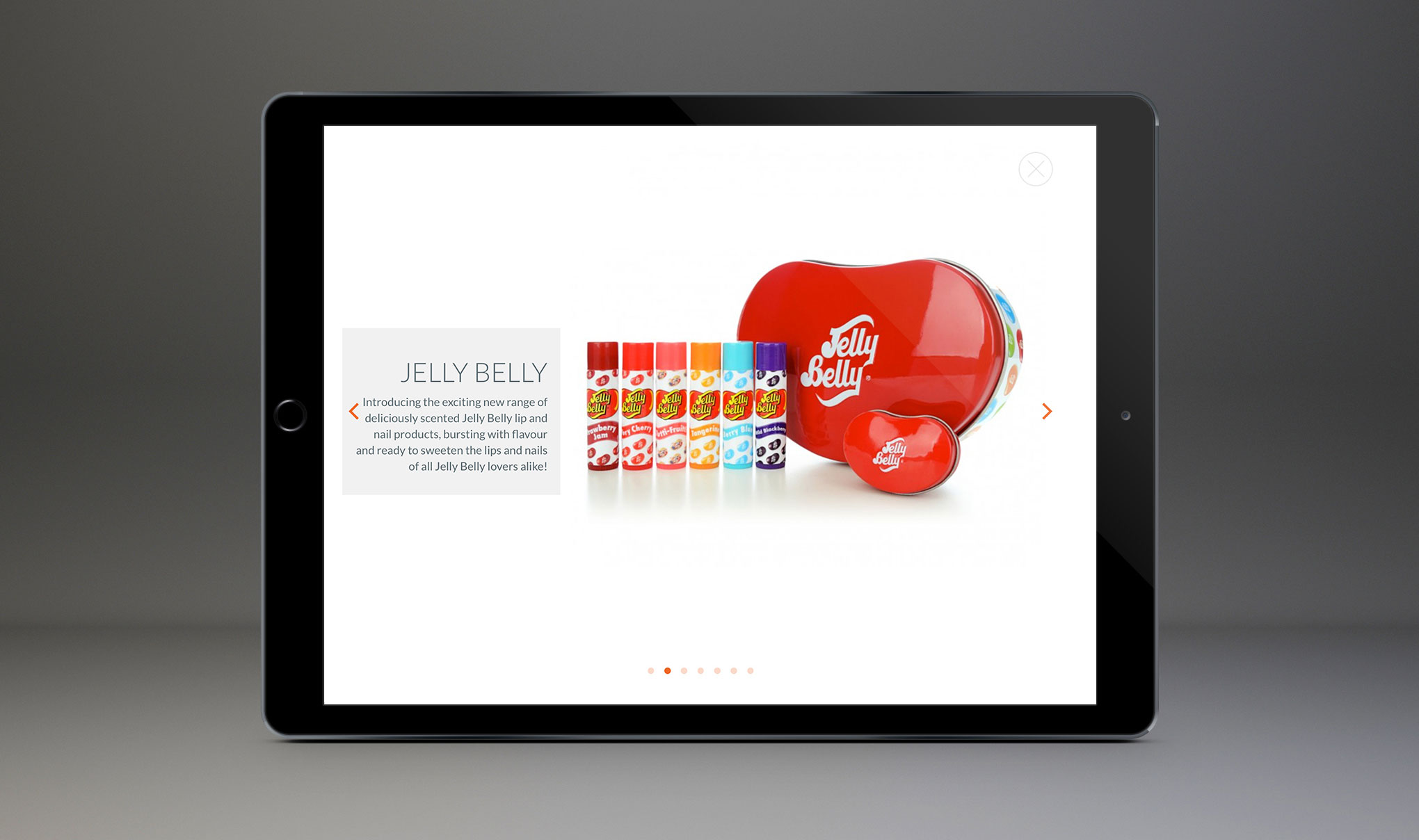Website design for Amber House Ltd. Image shows Jelly Belly brand page displayed on an iPad. Website designed and developed by - Flipflop Design Ltd.