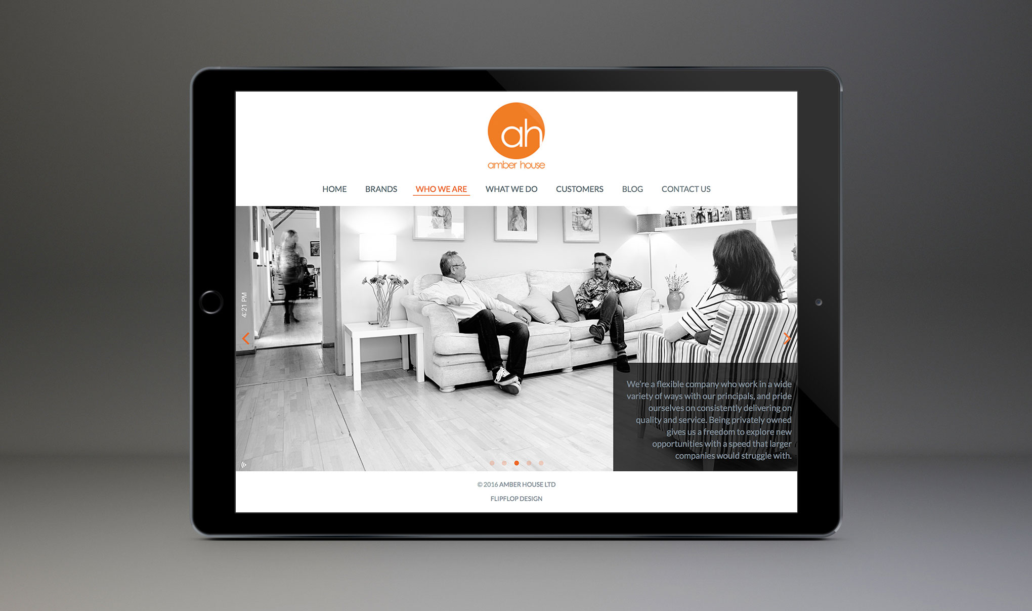 Website design for Amber House Ltd. Image shows the 'who we are' page displayed on an iPad. Website designed and developed by - Flipflop Design Ltd.