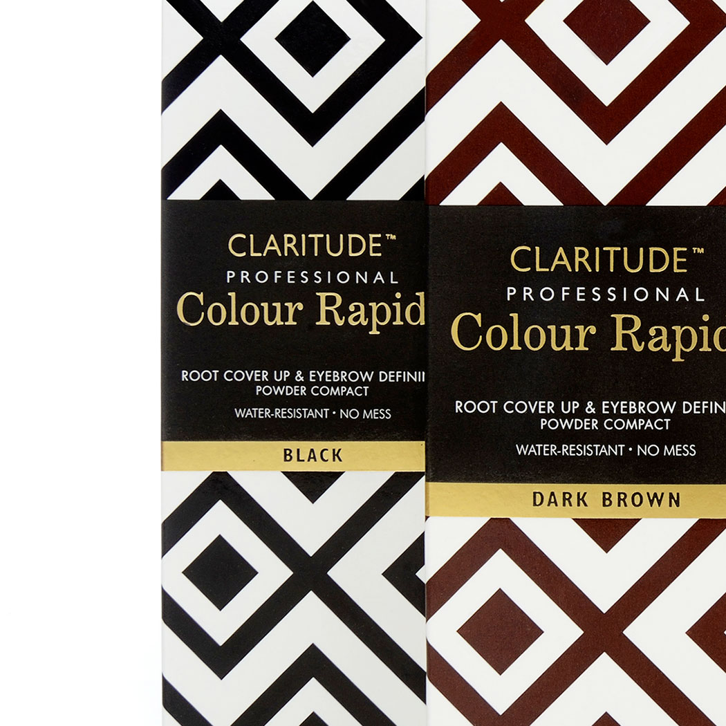 Geometric Packaging Design for Claritude Root Touch-up. Image shows the black and dark brown variations. Created by brand and packaging design agency - Flipflop Design Ltd