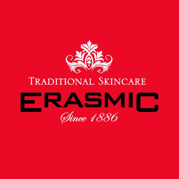 Brand logo for 'Erasmic' Traditional skincare. Created by brand design agency - Flipflop Design Ltd.