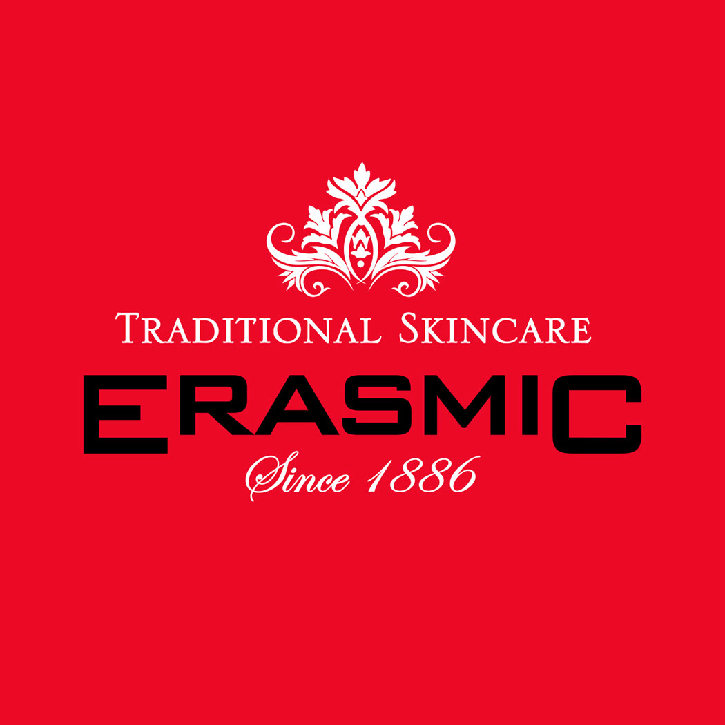Brand logo for 'Erasmic' Traditional skincare. Created by brand design agency - Flipflop Design Ltd.