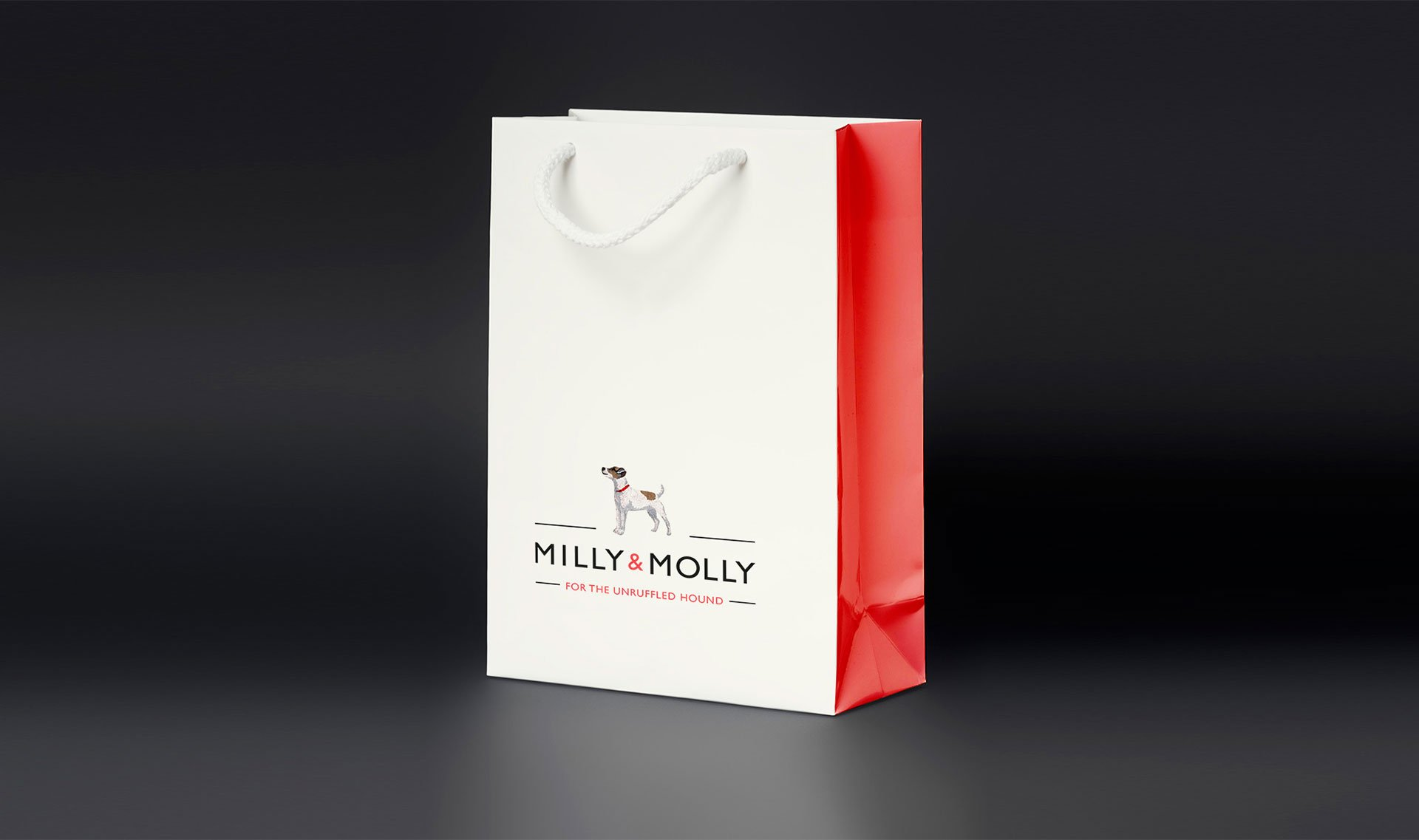 Branded paper bag. MILLY & MOLLY - Flipflop Design Agency