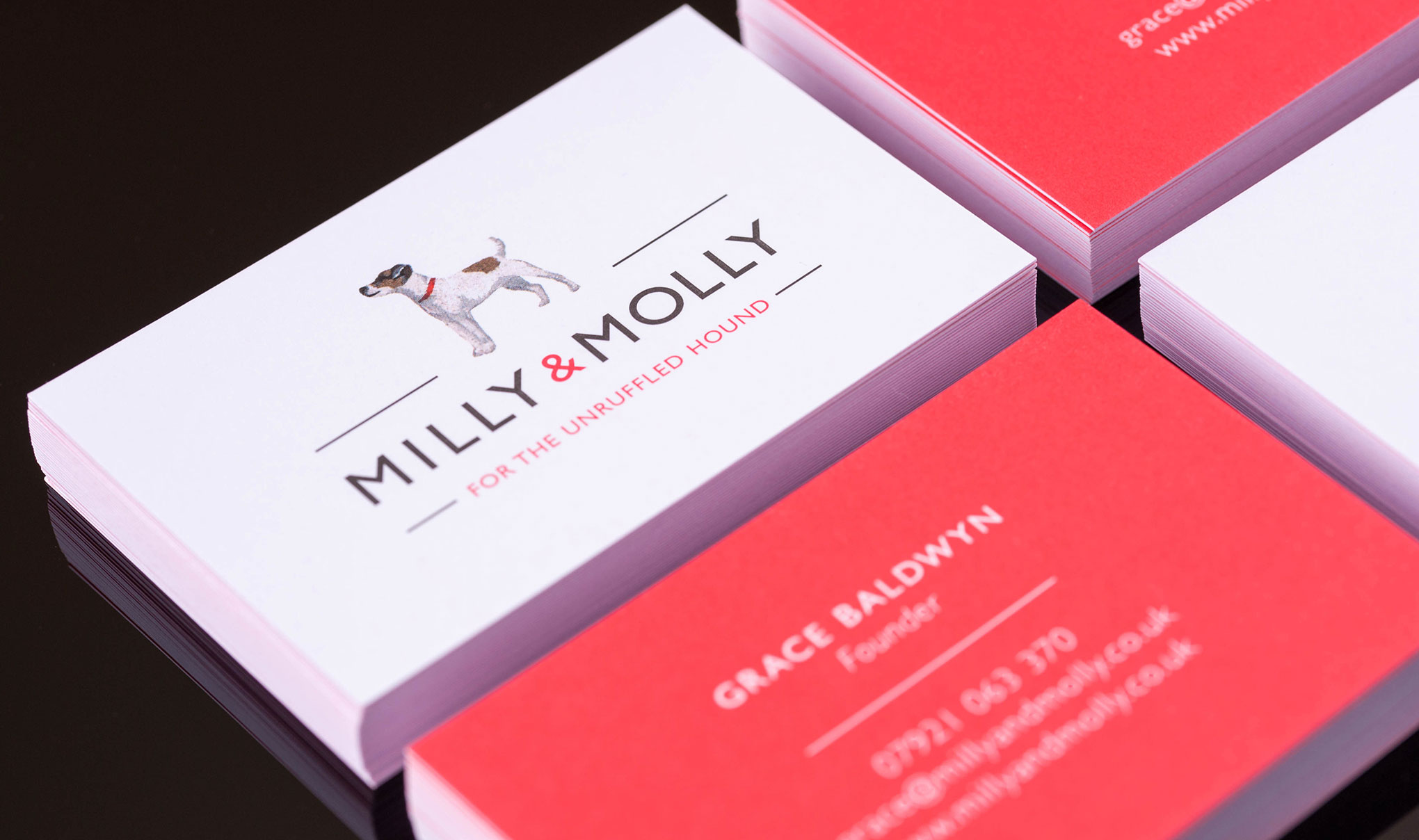 Pet branding & packaging design. Image shows front and back of the business cards. Identity and packaging designed for the brand MILLY & MOLLY by design agency - Flipflop Design Ltd.