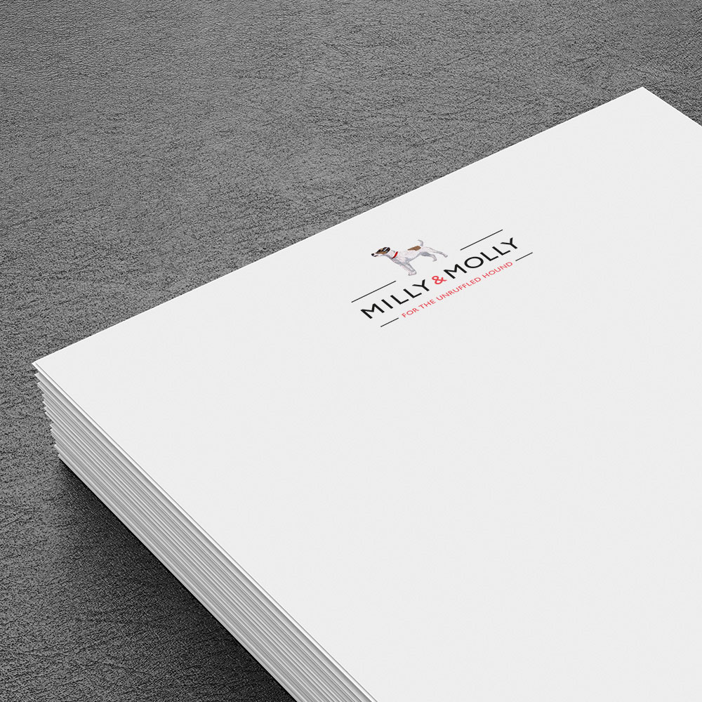 Pet branding & packaging design. Image shows brand logo on the letterheads. Identity and packaging designed for the brand MILLY & MOLLY by design agency - Flipflop Design Ltd.