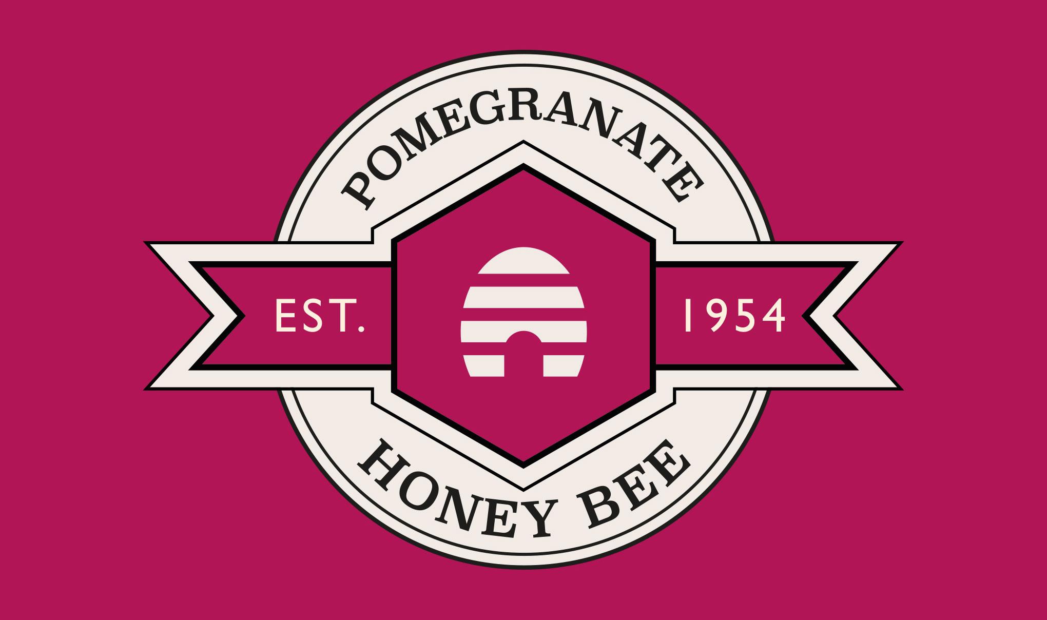 Brand logo for 'Honey Bee' on on pomegranate background colour. Designed for Amber House by packaging design agency - Flipflop Design Ltd.