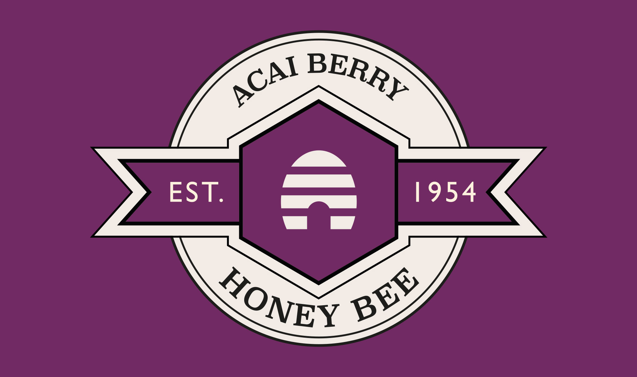 Brand logo for 'Honey Bee' on acai berry background colour. Designed for Amber House by packaging design agency - Flipflop Design Ltd.