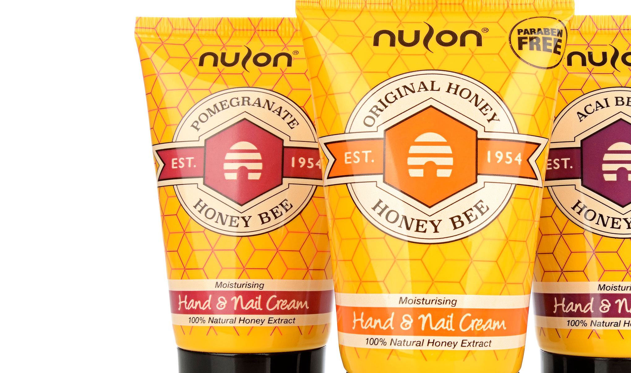 Packaging design for 'Honey Bee' honey extract hand cream. Close up Image of x3 product variants. Designed by packaging design agency - Flipflop Design.