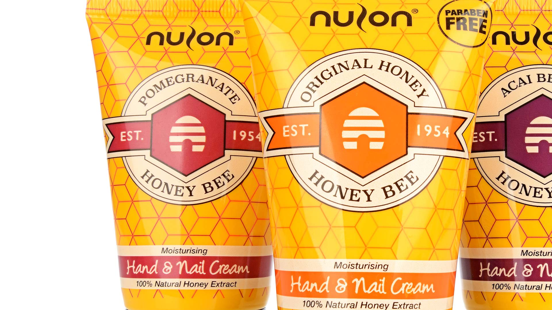 Crop shot of Nulon Honey Bee hand cream tubes. Packaging design company - Flipflop Design